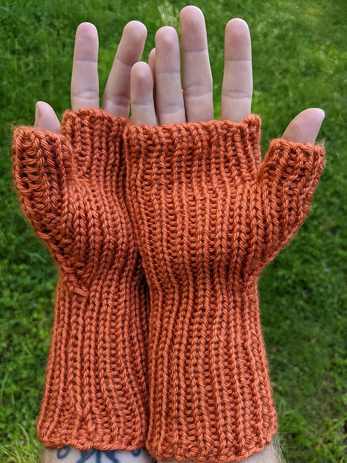 Ribbed Fingerless Mitts - Orange