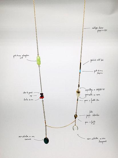 Long chain - large glass pendant