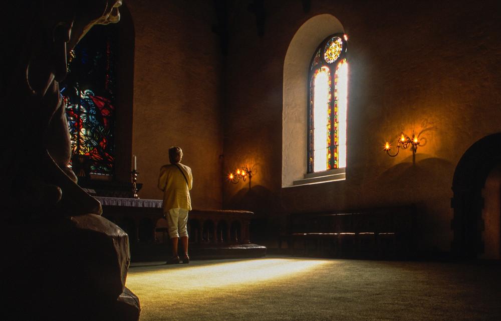 spiritual seeker at an altar