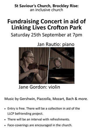 Fundraising Concert in aid of Linking Lives Crofton Park: Saturday 25th September at 7pm