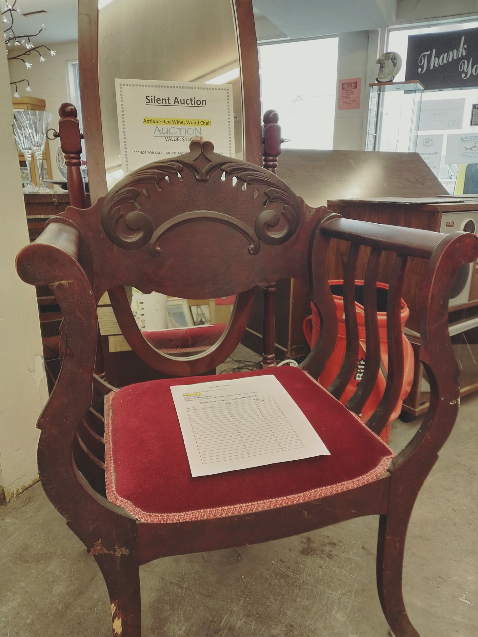 Antique Red Wine, Wood Chair