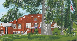 Painting of Hinckley Community Building with trees
