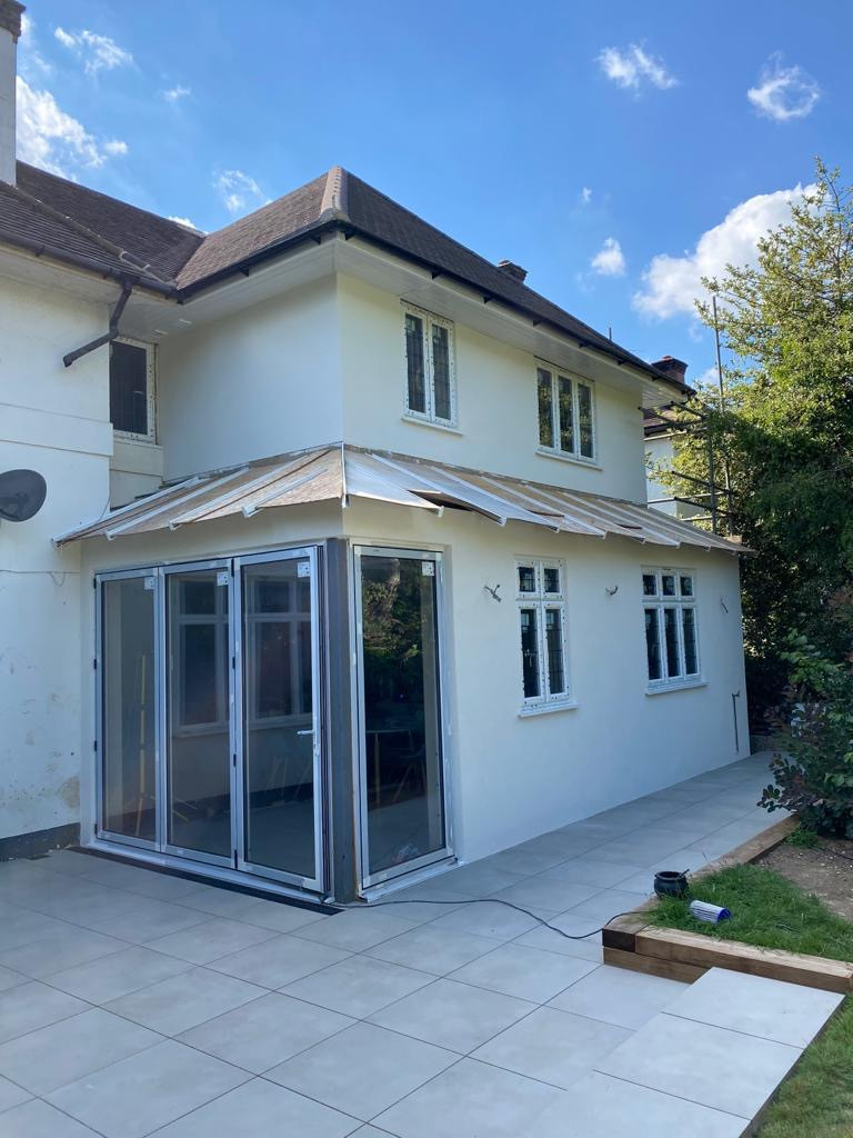 Silicone Render Installation to this new build extension in another classic colour.