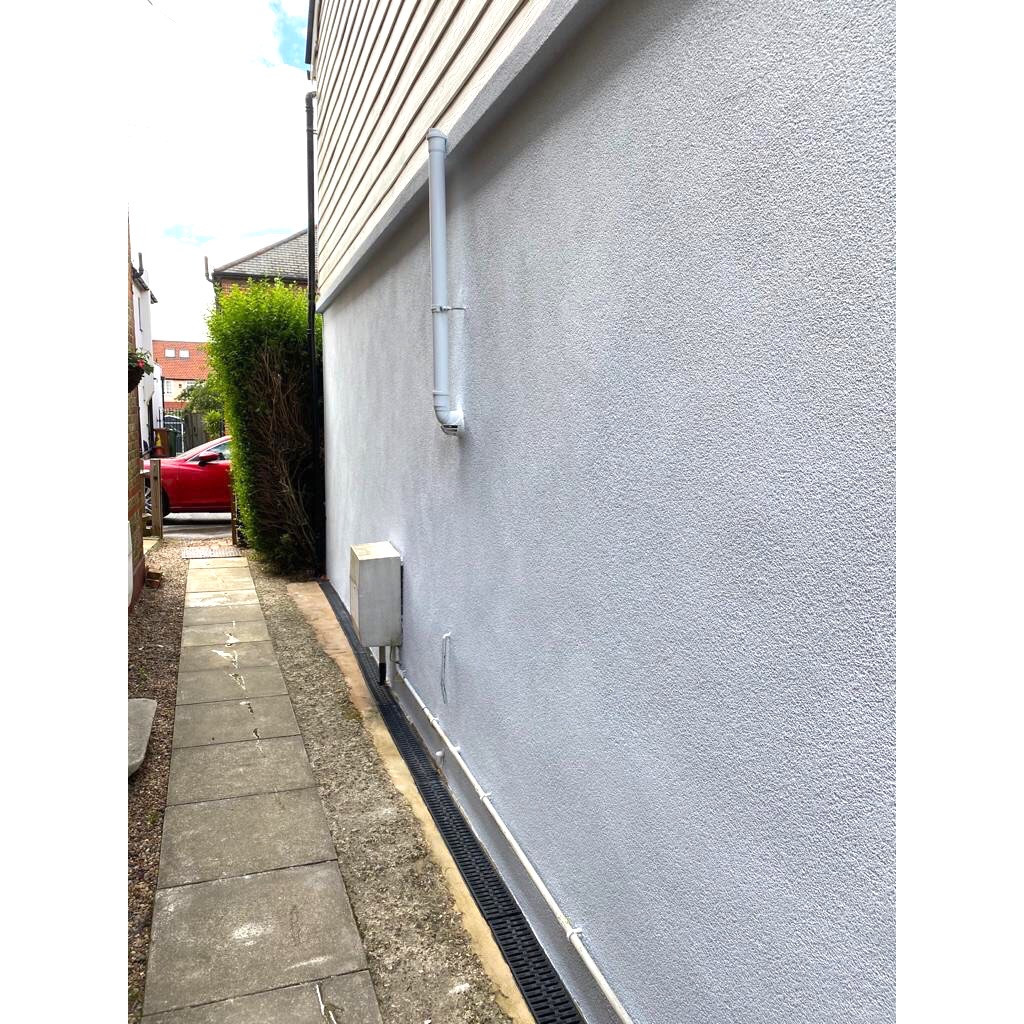 Finally a splash of colour 💙 . Modernised result using 'pastel blue' thin coat system to replace old pebble dash exterior.