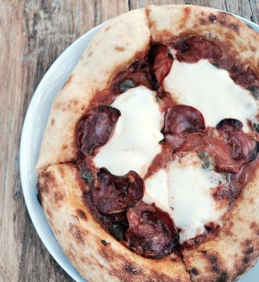 Salami, Chilli, Capers, Sugo and Mozzarella Sourdough Pizza