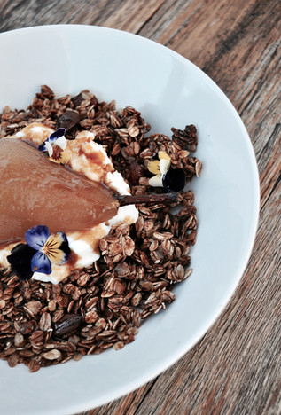 Breakfast Bowl with Hibiscus Poached Pear