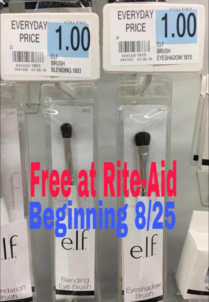 Free Elf makeup brushes at Rite-Aid.