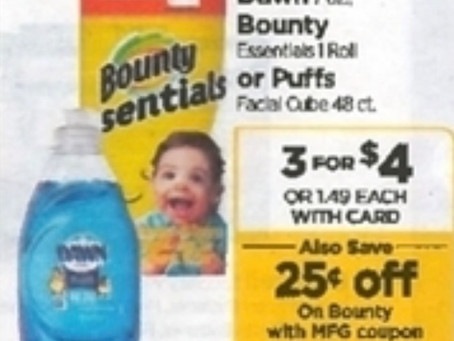 Easy Deal, Bounty Paper Towel singles $1.25 each at Rite-Aid!