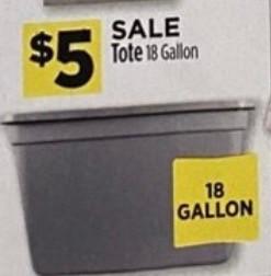 18 Gallon Totes $5.00 at Dollar General Beginning 2/2.
