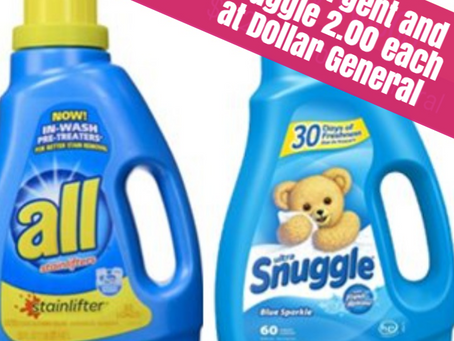 All Detergent and Snuggle 2.00 each at Dollar General Beginning 2/23