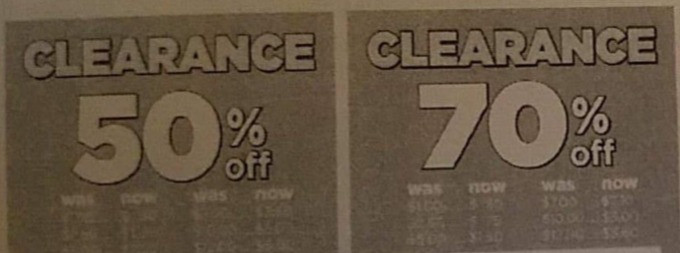 Flyer showing 50% and 70% items at Dollar General