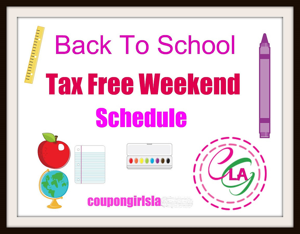 Back to school tax free weekend schedule