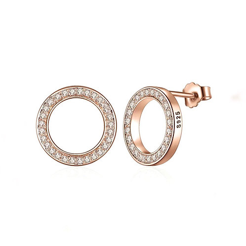 Rose Gold Delicate Round CZ &925 Sterling Silver Earrings