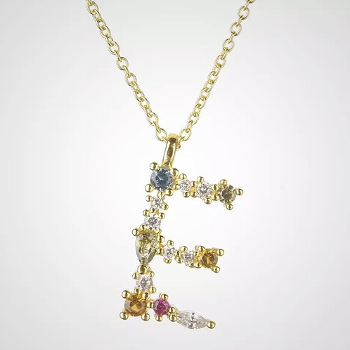Rainbow Gemstone Letter - E (925 gold plate and sterling silver)