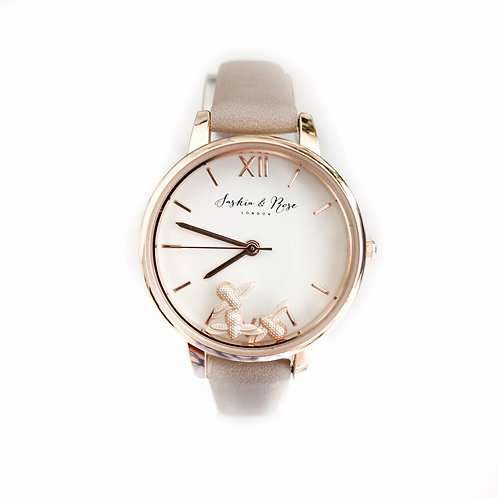 Summer Bee  - Rose gold & nappa leather wristwatch