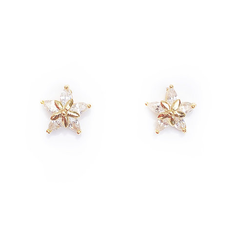 925 Sterling Silver and gold plate Zirconia Star Burst