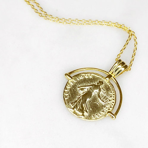 Roman coin pendant (925 sterling silver and gold plate)