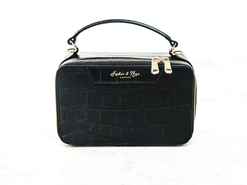 Therese Large Box Grab - Black Croc