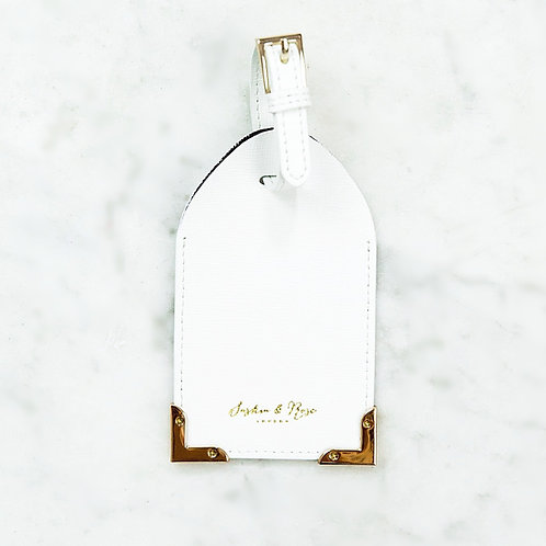 Leia Luggage Tag - Black & White Saffiano