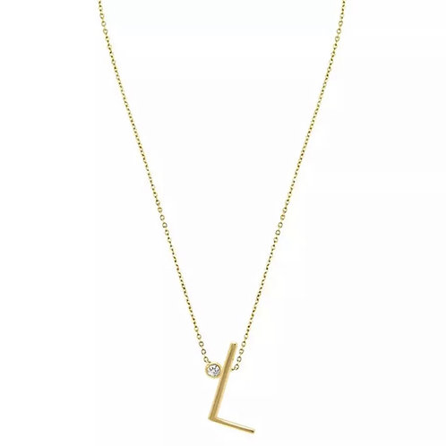 Gold letter necklace - L (925 Sterling Silver & Gold Plate)