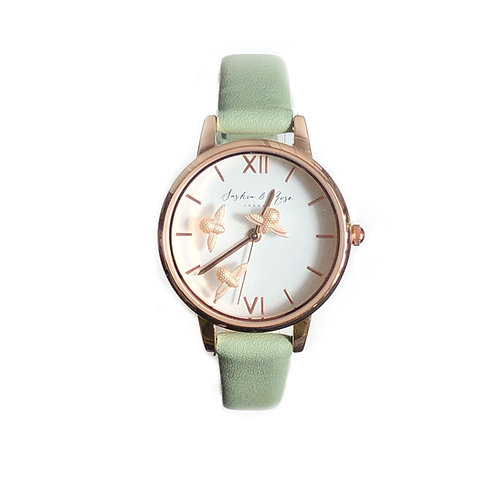 Honey Bees Watch with Olive Leather Strap