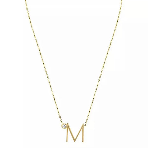 Gold letter necklace - M (925 Sterling Silver & Gold Plate)