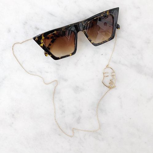 Jessica Leopard pattern sunglasses & neck chain