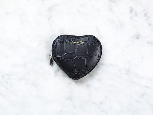 Otillie Heart Purse - Black Croc