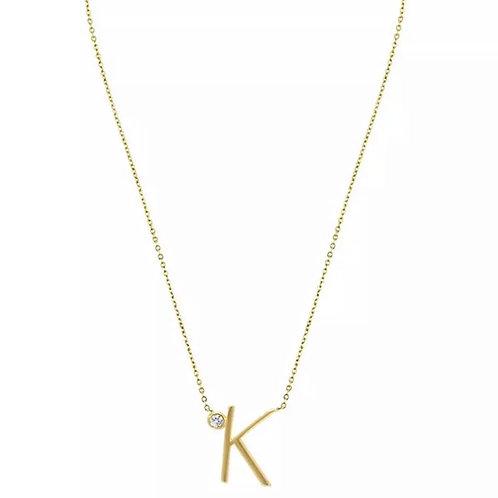 Gold letter necklace - K (925 Sterling Silver & Gold Plate)