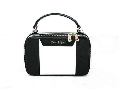 Belle Large Grab Bag - Black and White Saffiano