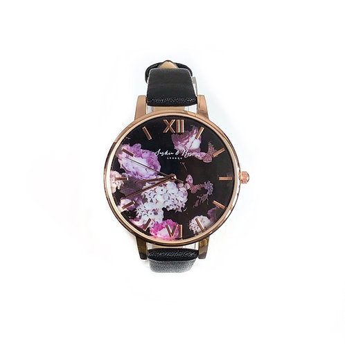 Rose botanical watch with black leather strap