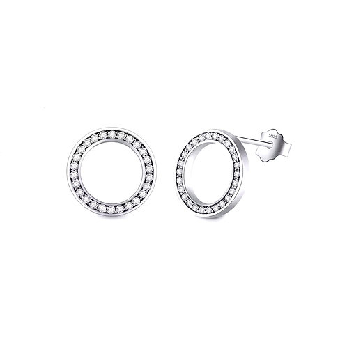 Delicate Round CZ & Sterling Silver 925 Stud Earrings