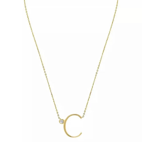 Gold letter necklace  - C (925 Sterling Silver & Gold Plate)