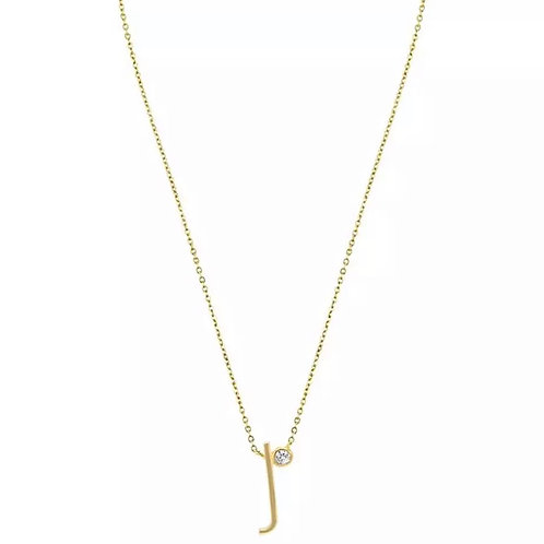Gold letter necklace - J (925 Sterling Silver & Gold Plate)