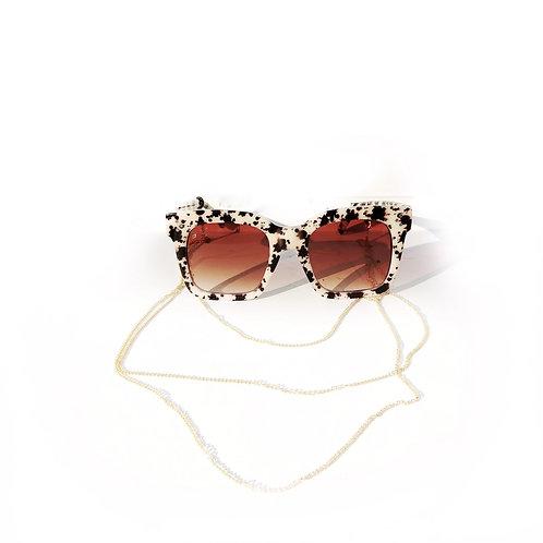 Tortoise Shell Sunglasses & Gold Neckchain