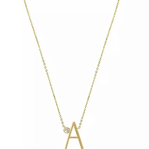 Gold letter necklace - A (925 Sterling Silver & Gold Plate)