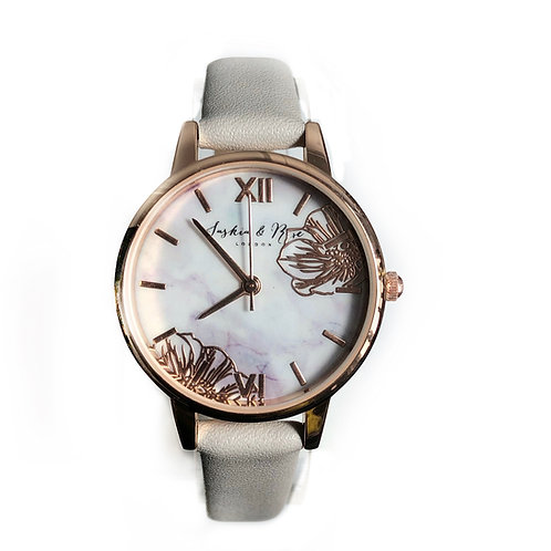 Rose gold fern leather watch
