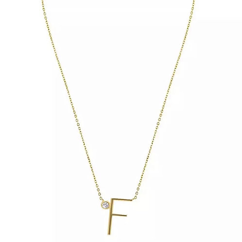 Gold letter necklace - F (925 Sterling Silver & Gold Plate)