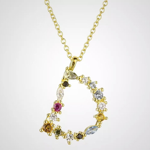 Rainbow Gemstone Letter - D (925sterling silver and gold plate)