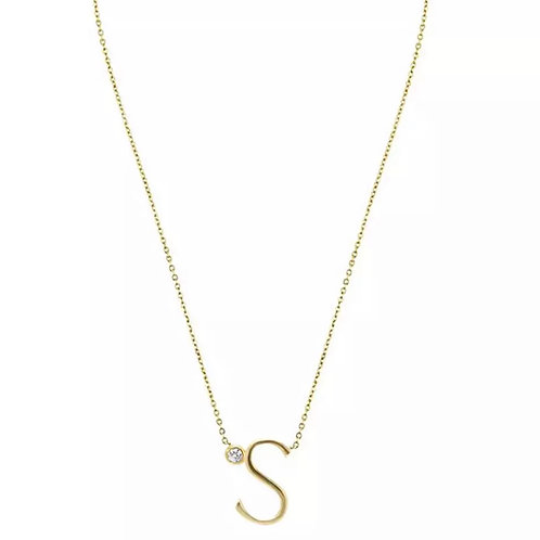 Gold letter necklace - S (925 Sterling Silver & Gold Plate)