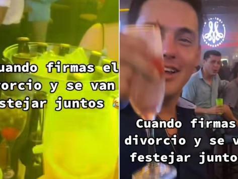 Ex esposos celebran juntos su divorcio y el divertido video se vuelve viral