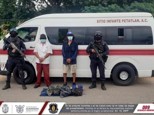 Policía Estatal detiene a dos personas por posesión de marihuana