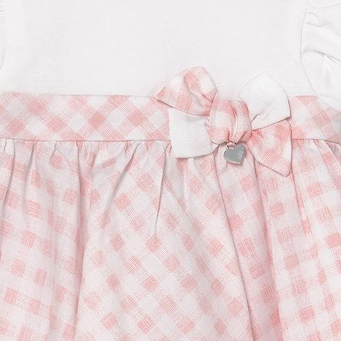 Mayoral Pink Gingham Bloomer Dress Set