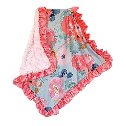 Rockin Royalty Aqua Floral Blanket