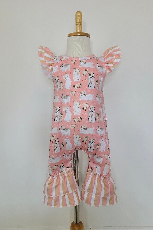 Clover Cottage Sweet Peach Bunny Romper