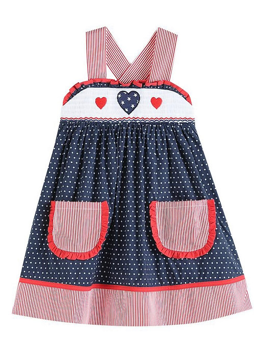 Lil Cactus Red White and Blue Apron Dress
