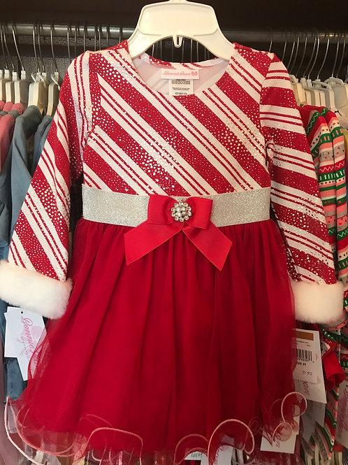 Bonnie Jean Candy Cane Stripes Dress