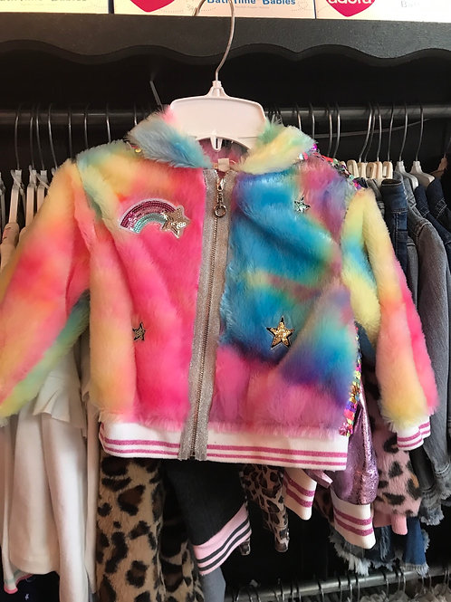 Baby Sara Rainbow Sequin Zip-up Hoodie