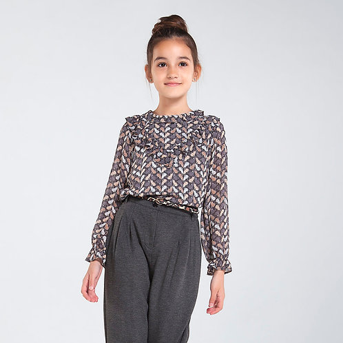 Mayoral Gray Cat Blouse 2PC Set