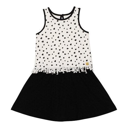 Deux Par Deux Heart Print Dress With Fringe